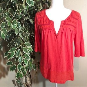 LUCKY BRAND Coral -ish V-neck Blouse Size L